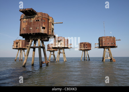 Maunsell sea forts. Red sands sea forts Thames estuary. They are now abandoned. - Stock Photo