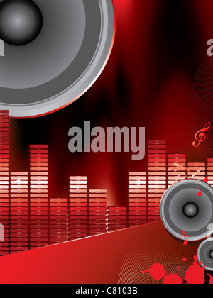 musical theme with loudspeakers and music notes - Stock Photo