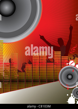 vector illustration of musical theme with loudspeakers and party people silhouettes - Stock Photo