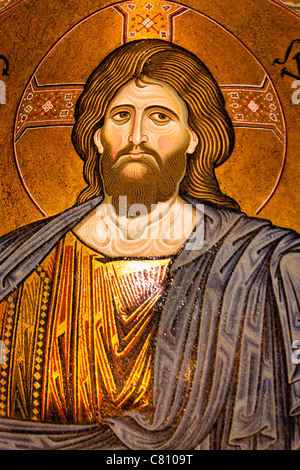 Jesus Christ mosaic in the apse, Monreale Cathedral, Monreale, near Palermo, Sicily, Italy - Stock Photo