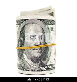 Dollar roll tightened with rubber - Stock Photo