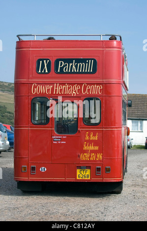 Gower Heritage Center old open top Leyland bus giving guided tours of the Gower Peninsula in South Wales, UK. - Stock Photo