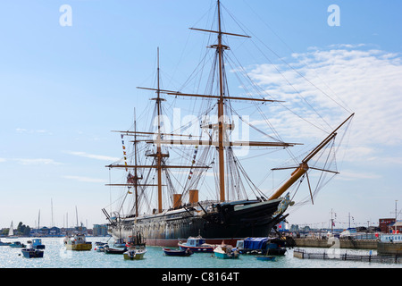 HMS Warrior (the first iron-hulled steam/sail warship in 1860), Portsmouth Historic Dockyard, Portsmouth, Hampshire, - Stock Photo