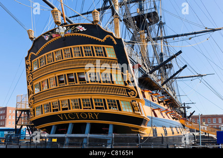 Admiral Lord Nelson's flagship HMS Victory in Portsmouth Historic Dockyard, Portsmouth, Hampshire, England, UK - Stock Photo