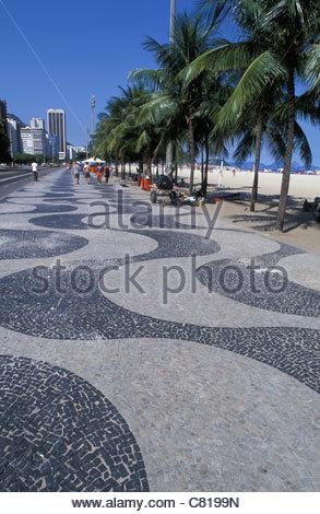 Brazil, Rio de Janeiro. Copacabana beach - Stock Photo