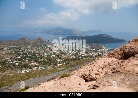The island of Vulcano, the Gran Cratere, active volcano in Eolie, Aeolian Islands, Sicily, Sicilia, Italy, Europe - Stock Photo