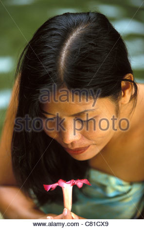 Thai woman smelling orchid - Stock Photo