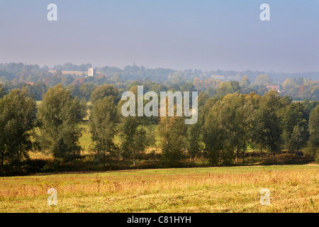 Dedaham Vale River Stour early autumn Essex Suffolk borders looking towards Dedham Church of St Mary from East Bergholt - Stock Photo