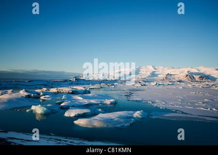 Icebergs in Jokulsarlon in Skaftafell, south Iceland - Stock Photo