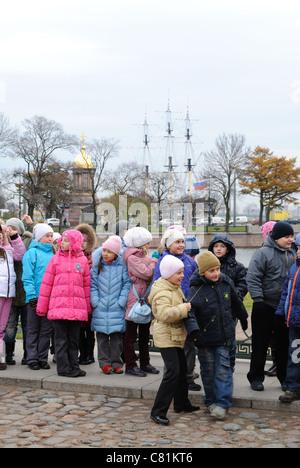 School trip to the Zayachy Island, St. Petersburg, Russia - Stock Photo