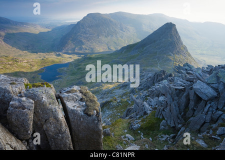 Tryfan and the Ogwen Valley from Glyder Fach. Snowdonia National Park. Conwy. Wales. - Stock Photo