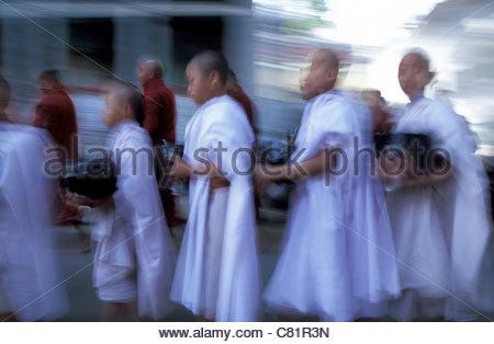 Burma, Mandalay, novice monks in monastery - Stock Photo