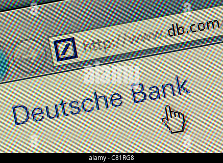 Deutsche Bank logo and website close up - Stock Photo