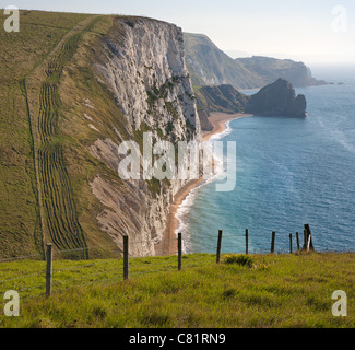 Dorset coastal scenery looking from Bat's head past Swyre head to Durdle Door near Lulworth - Stock Photo