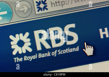 Royal Bank of Scotland RBS logo and website close up - Stock Photo
