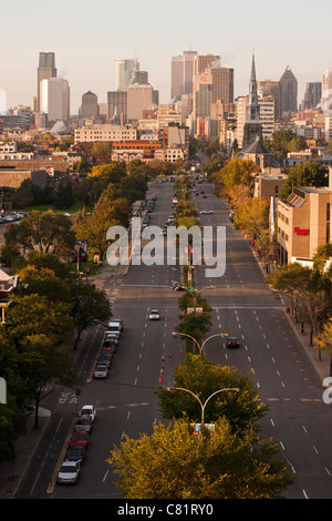 View on René Lévesque Boulevard and Montreal skyline from Jacques Cartier Bridge. - Stock Photo