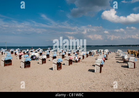 Travemuende beach, Luebeck Bay, Baltic Sea, Schleswig-Holstein. Germany, Europe - Stock Photo