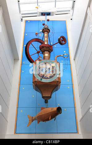 The Wishing Fish Clock, in the Regent Arcade Shopping Centre in Cheltenham Spa, Gloucestershire, England, UK - Stock Photo