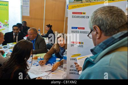 Paris, France, People at Paris Jobs Fair,Job Seekers Being Interviewed at 'Paris Vison Corporation', Tourism Industry - Stock Photo