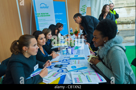 Paris, France, People at Paris Jobs Fair, Job Seekers being Interviewed by Autolib Company, Electric Car Sharing - Stock Photo