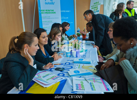 Paris, France, People at Jobs Fair, Job Seekers being Interviewed by Autolib Company, Electric Car Sharing Sceme, - Stock Photo