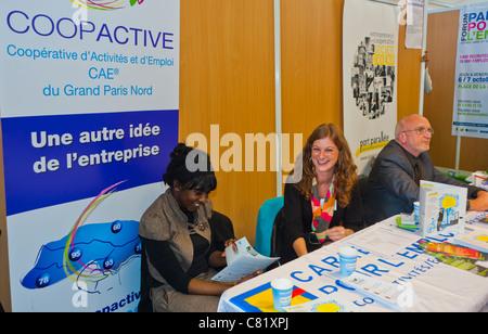 Paris, France, People at Paris Jobs Fair, Social Business, Co-operative Organization, Coopactive Non Profit - Stock Photo