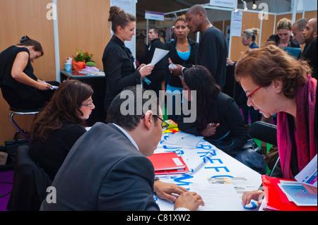 Paris, France, People at Business Meeting, Paris Jobs Fair, Job Seekers, Discussion - Stock Photo