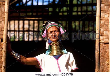 Myanmar, Burma, Shan State, Inle lake, Padaung tribe woman - Stock Photo