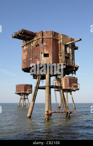 Maunsell sea forts. Red Sands sea forts Thames estuary, they are now abandoned - Stock Photo