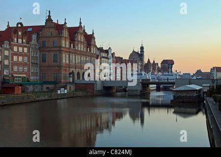 Medieval riverside crane in Gdansk, Poland. - Stock Photo