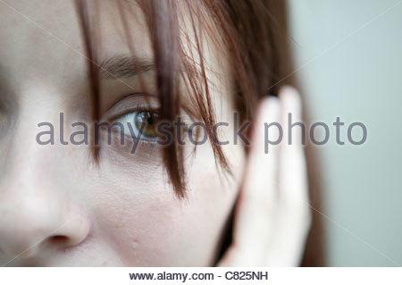 Woman's face close up - Stock Photo