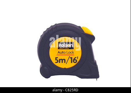 A rolson 5 metre tape measure on a white background - Stock Photo