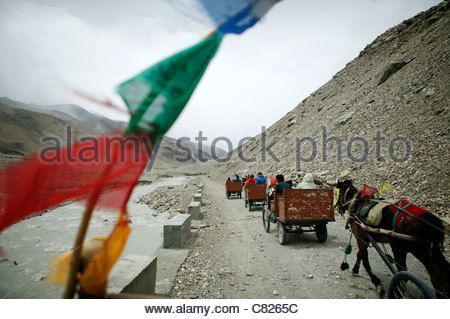 China, Tibet, Himalaya, Horse Carriage to Mt. Everest Base Camp - Stock Photo