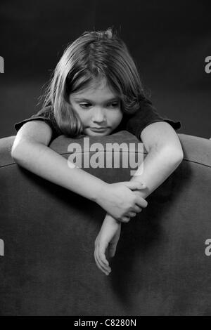 Portrait of an eight-year-old girl - Stock Photo
