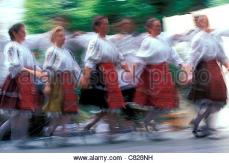 Hungary, Budapest. Hungarian folk dancers in typical hungarian costumes - Stock Photo