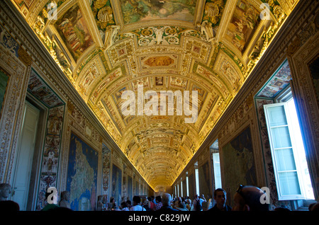 Frescoes on the ceiling in Gallery of Maps, Vatican Museum, Rome, Italy - Stock Photo