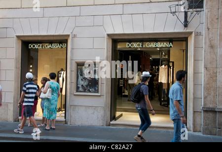 Dolce Gabbana store, Rome, Lazio, Italy, Europe - Stock Photo