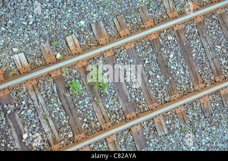 Looking down on a section of railroad track...symbolizing a journey. - Stock Photo