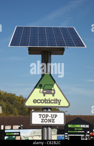 Ecotricity free solar powered EV charge point for recharging electric battery powered vehicles. Welcome Break motorway - Stock Photo