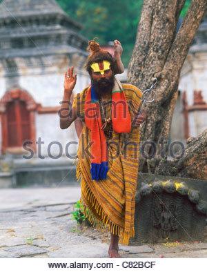 Nepal, Katmandu, Pashupatinath temple, Sadhu holy man - Stock Photo
