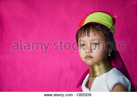 Thailand, Chiang Mai, Long neck girl of Karen tribe in the village of Chiang Dai - Stock Photo