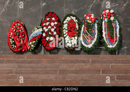 Wreaths for the Soviet World War II victims at Victory Park in Moscow, Russia - Stock Photo