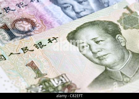 Chinese yuan renminbi bank notes close up - Stock Photo