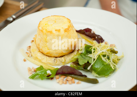 A vintage cheddar cheese souffle The Checkers restaurant in Montgomery Powys mid wales, awarded one star by the - Stock Photo