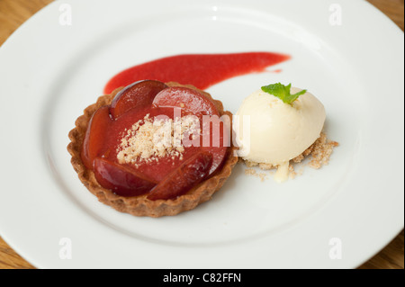 Plum and almond tart at The Checkers restaurant in Montgomery Powys mid wales. The establishment was awarded one - Stock Photo