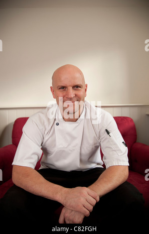 Chef proprietor Stéphane Borie of The Checkers restaurant in Montgomery Powys mid wales.The establishment was awarded - Stock Photo