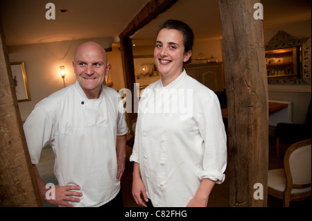 Chef proprietor Stéphane Borie, with sisters Katherine and Sarah Francis, co-owners of The Checkers restaurant in - Stock Photo