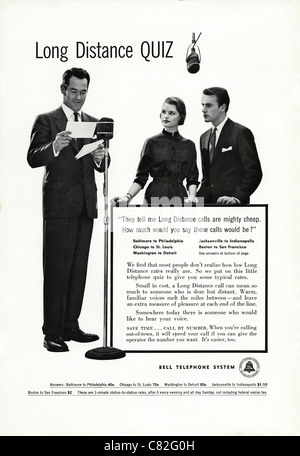 American magazine advertisement circa 1954 advertising the BELL TELEPHONE SYSTEM - Stock Photo