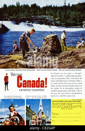 American magazine advertisement circa 1954 advertising vacations in CANADA - Stock Photo