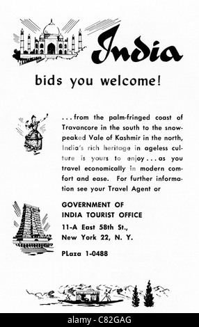 American magazine advertisement circa 1954 advertising vacations in INDIA - Stock Photo